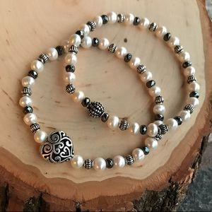 Valentin pearl heart hematite bead bracelets set